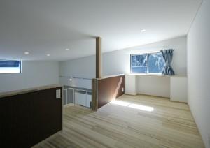 リビングダイニングキッチンと一体となったロフト空間。